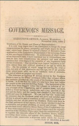 Governor Pettus' address 353.9762 M69gp (MDAH Collection)