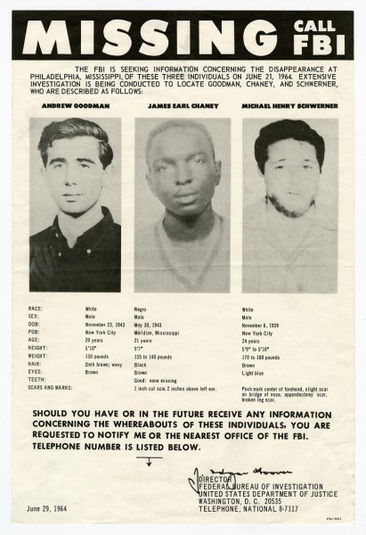 """Chaney, Goodman, Schwerner """"Missing, Call FBI"""" Poster. Call Number: Ephemera/Civil Rights/1964/Box 5, 1961-1969 (MDAH Collection)"""