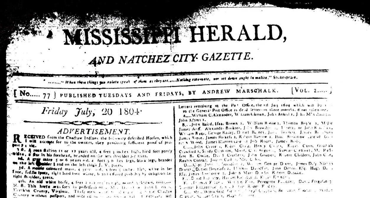 mississippi herald printed this month in 1804