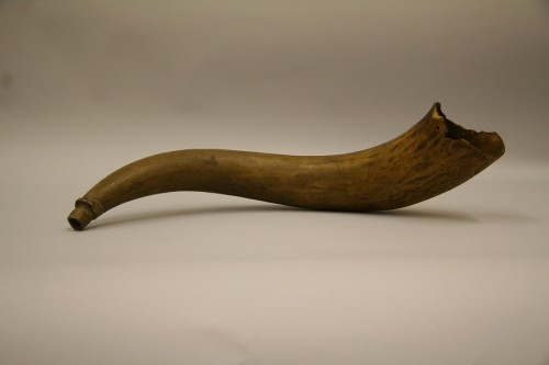 1986.52.1 – Often on a plantation, the sound of the horn signaled the beginning of the work day for slaves.  This horn belonged to William B. Randolph who was born into slavery in Tennessee in 1840-1842 and died in Bolivar County, MS, in 1927.  According to his grandson who donated the horn, William B. Randolph blew the horn every morning to awaken slaves living on the Andrew Jackson Donelson, Jr. plantation in Bolivar County.