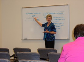Debbie Hess Norris leads a workshop on photograph conservation at the William F. Winter Archives and History Building.