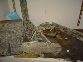 Artifacts covered in mold.