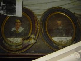 Molded portraits of Aristide and Marie Krebs.