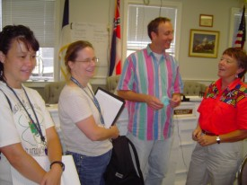 Left to right:  Christine Wiseman, Ann Frellsen, Jeff Rogers (MDAH), and Marian Wingo (EOC) at Ocean Springs City Hall.