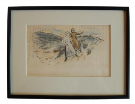 Crayon drawing of two women at seashore by AE; Eudora Welty House