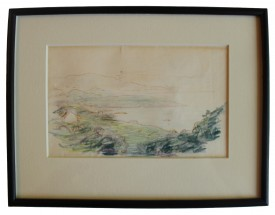 Crayon drawing of cliffs at the seashore by AE; Eudora Welty House